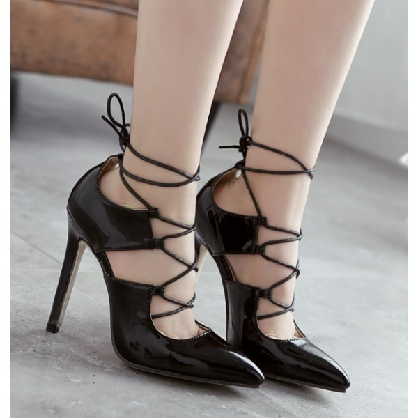 Black Strappy Heels Pointy Toe Lace-up Stilettos Pumps image 3