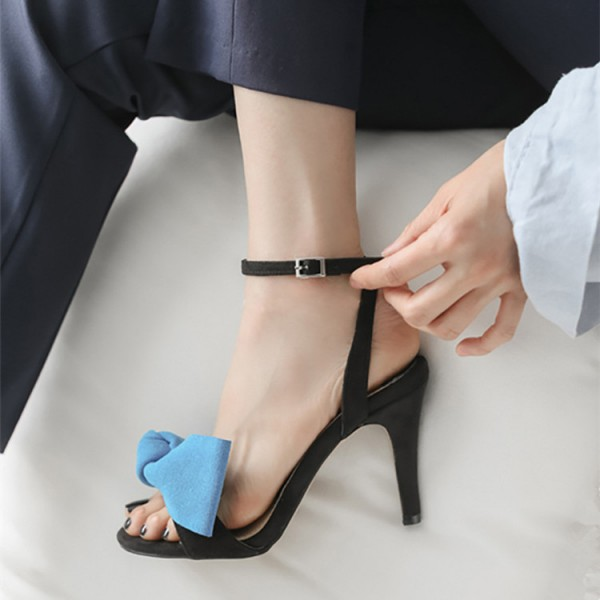Blue Ankle Strap Sandals Open Toe Bow Heels for Office Lady image 1