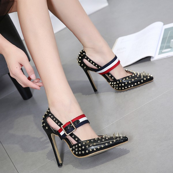 Women's Black Heels Metal Rivets Stiletto Heels  Mary Jane Pumps  image 3