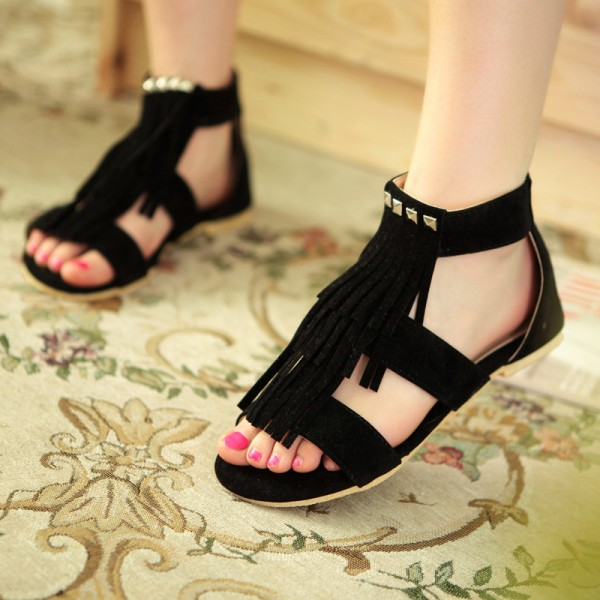 Black Fringe Sandals Comfortable Flat Shoes image 3