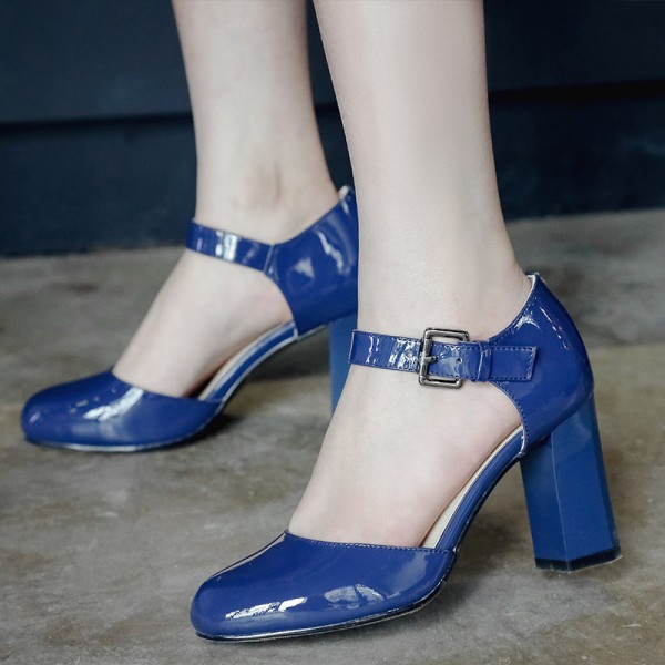 Women's Blue Mary Jane Pumps Vintage Heels image 1