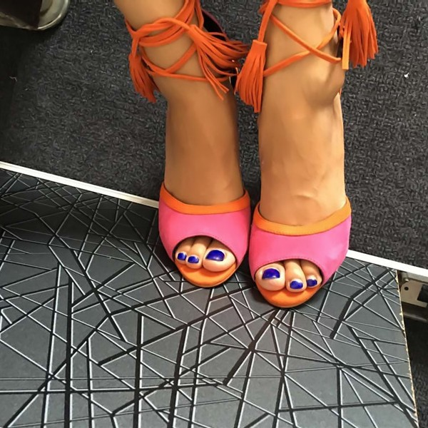 Hot Pink Strappy Sandals Peep Toe Lace up Tassels Suede Pumps image 3