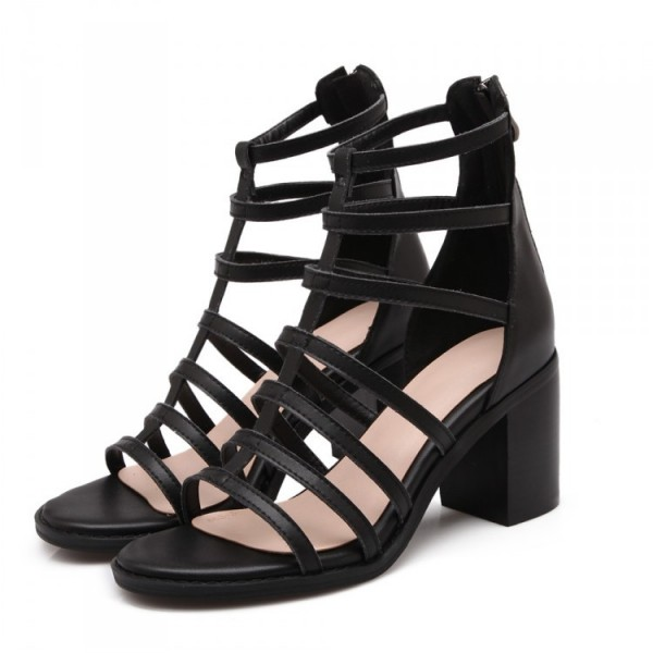 Women's Black Chunky Heel Gladiator Heels Sandals image 1