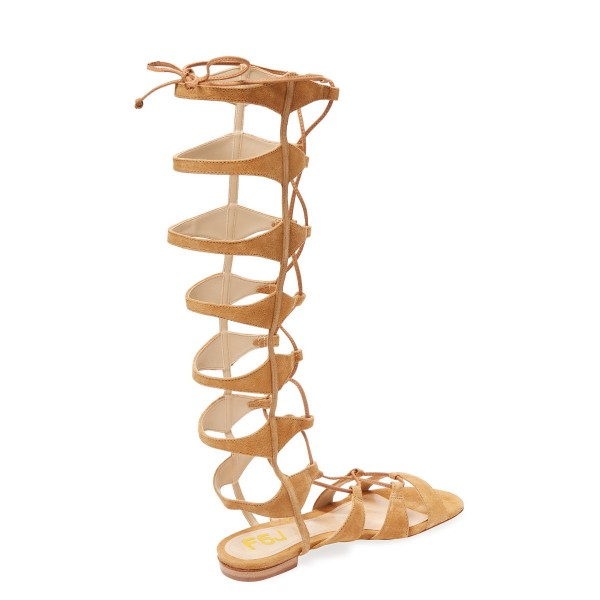 Khaki Gladiator Sandals Knee-high Strappy Flats  image 2