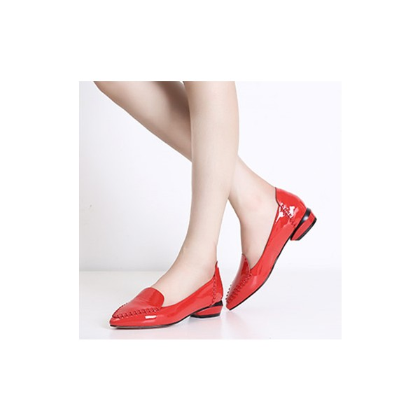 Women's Red  Leather Flats  Pointed Toe Vintage Shoes image 1