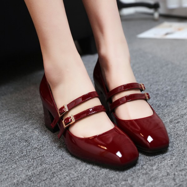 Women's Burgundy Mary Jane Patent Leather Vintage Heels image 2