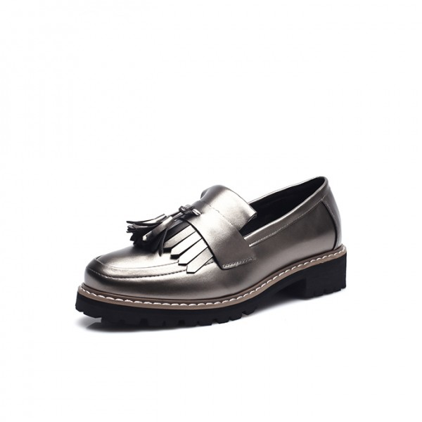 Women's Sliver Tassels Patent Leather Square Toe Vintage shoes image 1