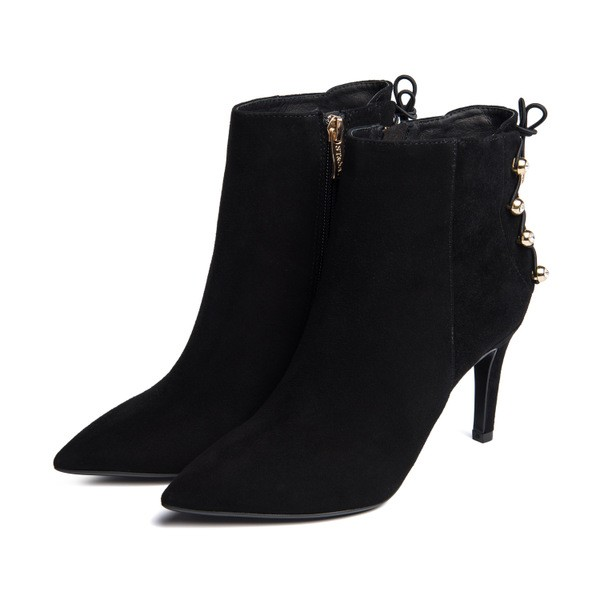 Black Stiletto Boots Suede Pointy Toe  Ankle Booties with Studs image 1