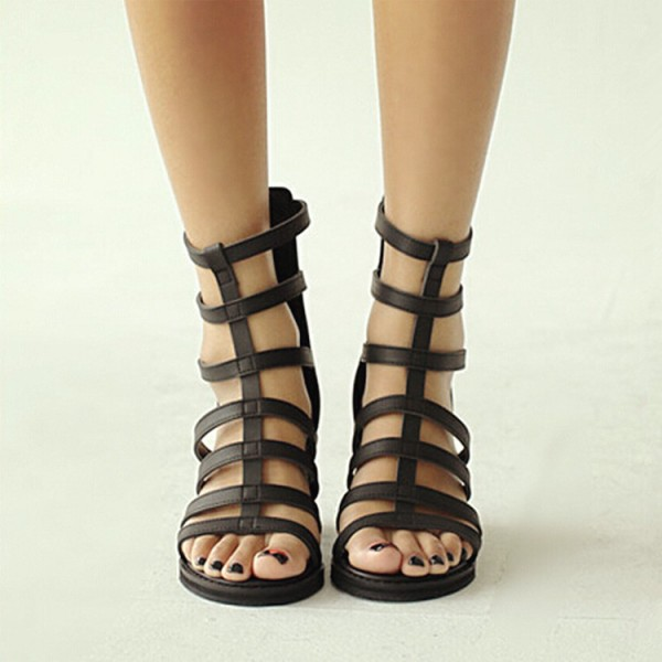 Women's Black Chunky Heel Gladiator Heels Sandals image 2