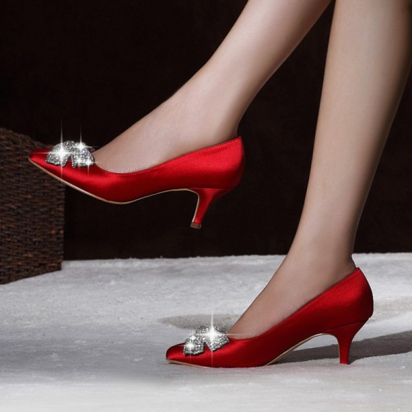 Red Satin Low Heel Wedding Shoes Rhinestone Bow Pointy Toe Pumps image 2
