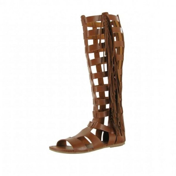 Brown Vintage Fringe Roman Sandals Flats Gladiator Sandals image 1