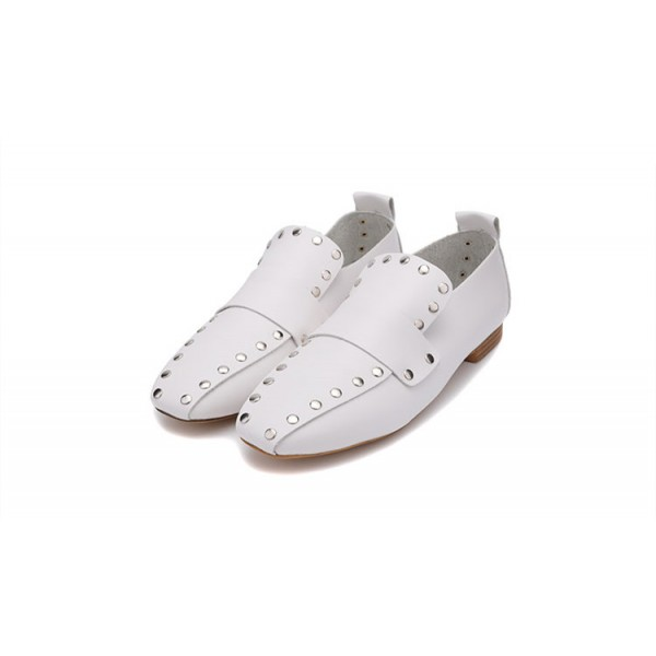 Women's White Square Toe Rivets Vintage Comfortable Flats image 3