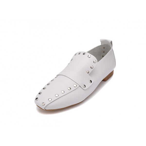 Women's White Square Toe Rivets Vintage Comfortable Flats image 1