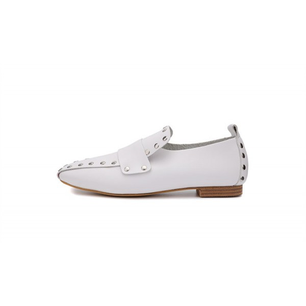 Women's White Square Toe Rivets Vintage Comfortable Flats image 2