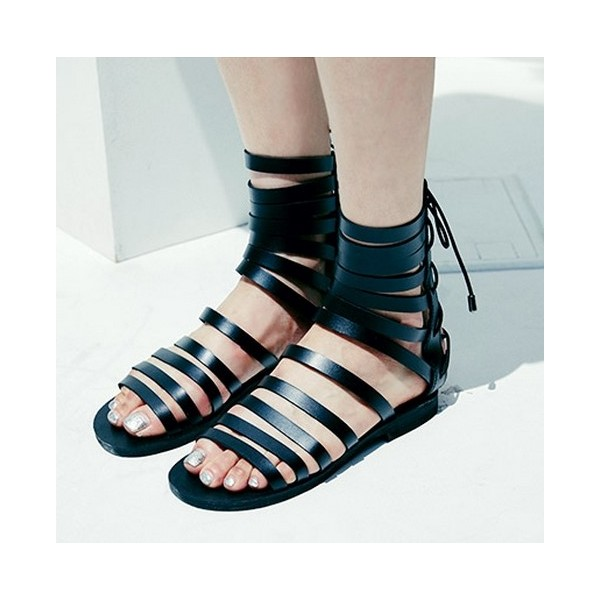 Women's Black Ankle High Women's Flat Gladiator Sandals image 1