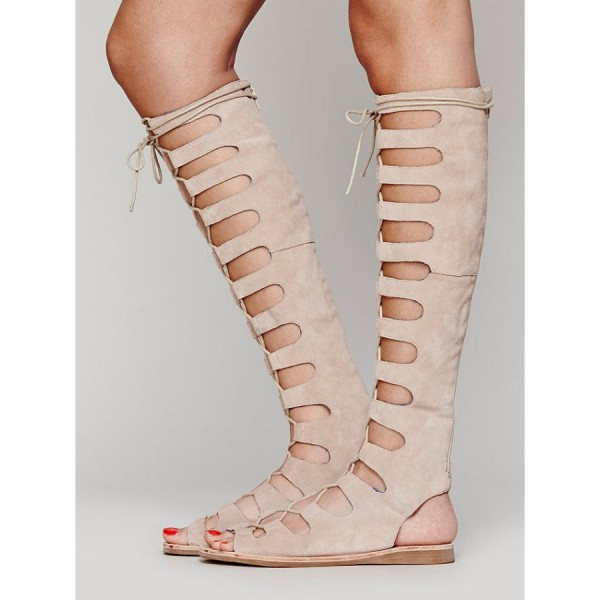 Women's Nude Knee-high Lace-up Suede Flat Gladiator Sandals image 2