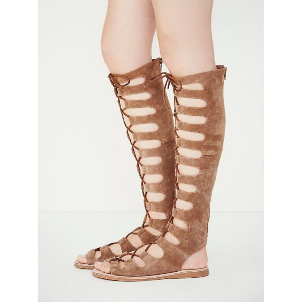 Khaki Gladiator Sandals Suede Comfortable Lace up Flats image 2