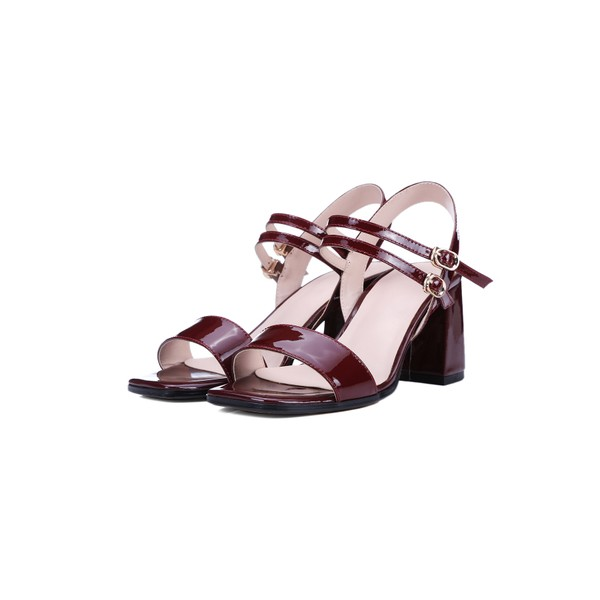 Burgundy Heels Patent Leather Square Toe Block Heel Sandals image 1
