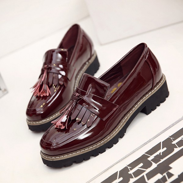 Burgundy Patent Leather Square Toe Fringe and Tassel Loafers for Women image 1