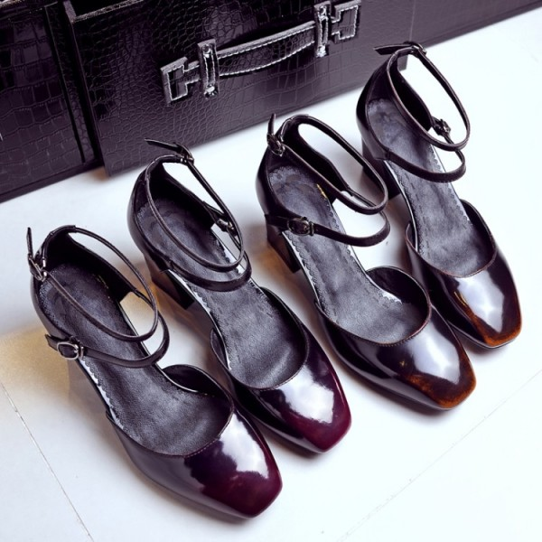 Maroon Vintage Heels Square Toe Block Heel Mary Jane Pumps image 3