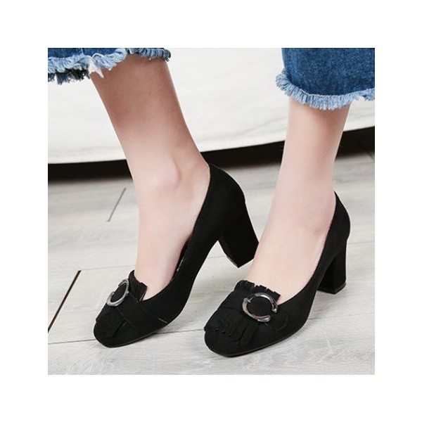 Women's Black Suede Square Toe Chunky Heels Tassels Shoes image 1
