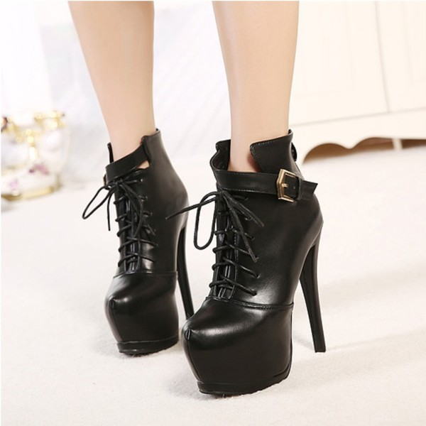Women's Leila Black Leather Lace-up Stiletto Heel Ankle Boots Stripper Shoes image 4