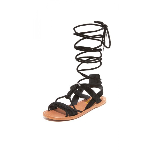 Black Gladiator Sandals Suede Strappy Flats for Women image 1
