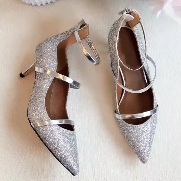 Women's Silver Dazzling Pointed Toe Stiletto Ankle Strap Heels Shoes image 3