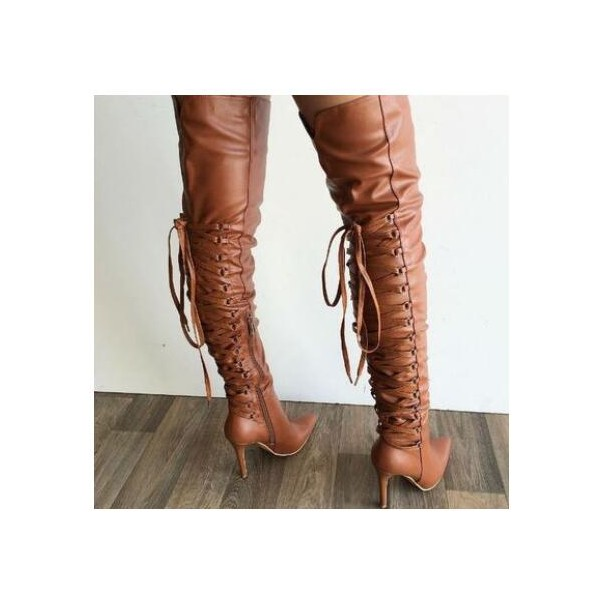 Women's Sexy Pointy Stiletto Heels Over-The- Knee Boots image 1