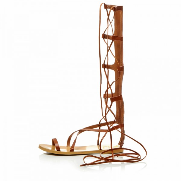 Women's Brown Strappy Flat Women's  Gladiator Sandals image 1