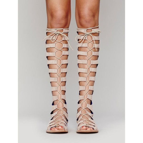 Women's Nude Knee-high Lace-up Suede Flat Gladiator Sandals image 1