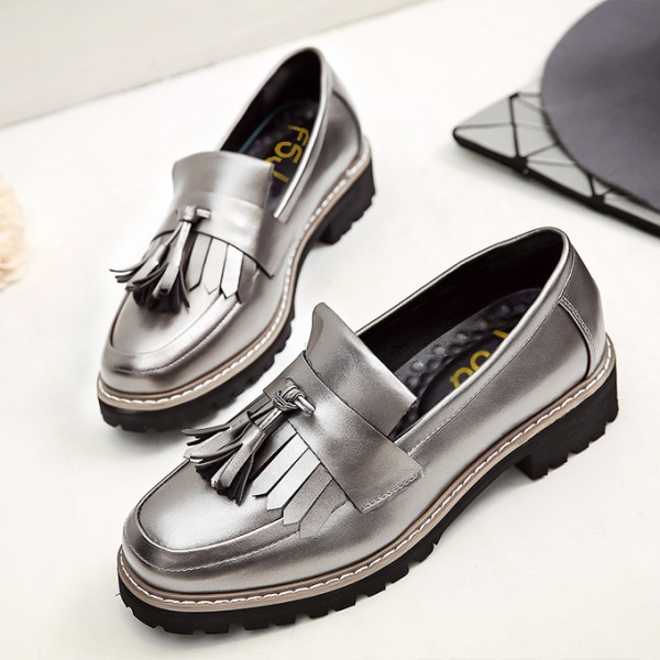 Women's Sliver Tassels Patent Leather Square Toe Vintage shoes image 2