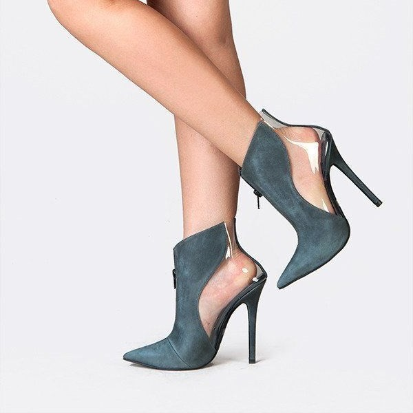 Teal Suede and Clear Stiletto Heel Ankle Booties image 2
