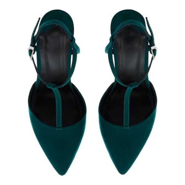 Teal Suede Pointy Toe T Strap Heels image 4