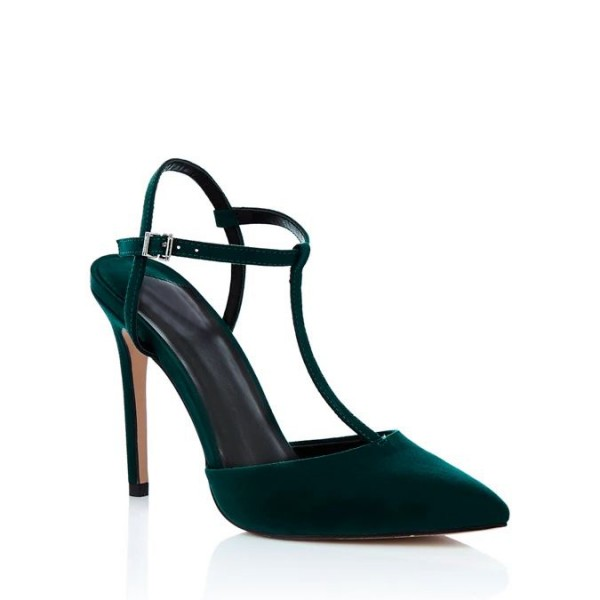 Teal Suede Pointy Toe T Strap Heels image 2