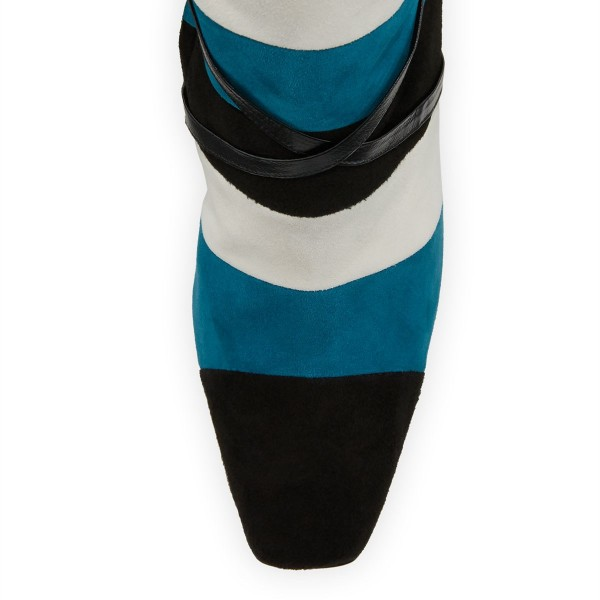 Black White Blue Three-tone Strap Long Boots Stiletto Knee-high Boots image 4