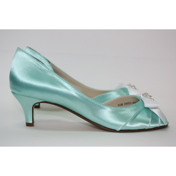 Women's Turquoise Wedding Shoes Satin Rhinestone Bow Kitten Heels Pumps image 2
