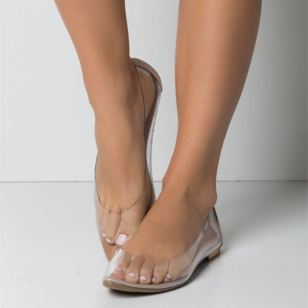 Trendy PVC Flat Clear Shoes See Through Pointy Toe Flats US Size 3-15 image 1