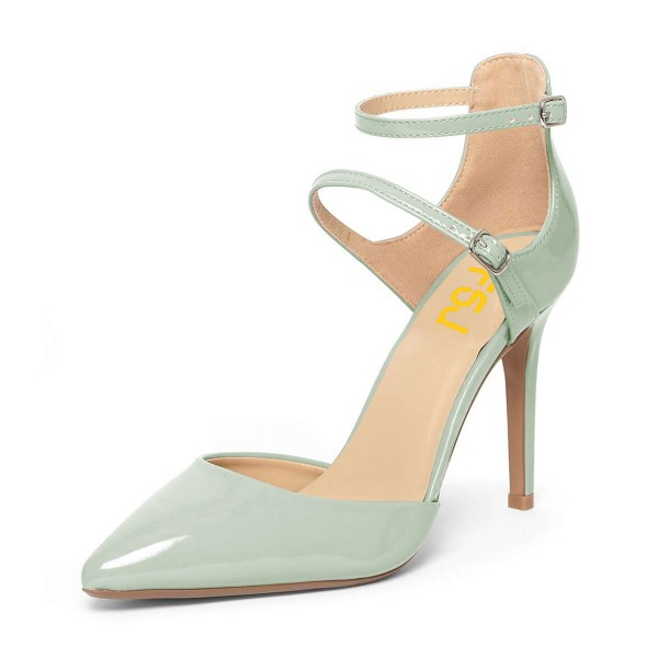 Women's Light Green Pointed Toe Ankle Trap Heels Pumps image 1