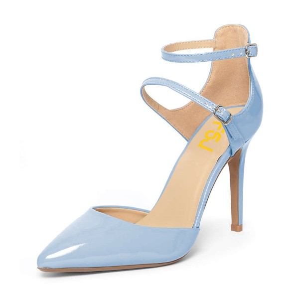 Light Blue Closed Toe Sandals Ankle Strap Stiletto Heels Shoes image 1