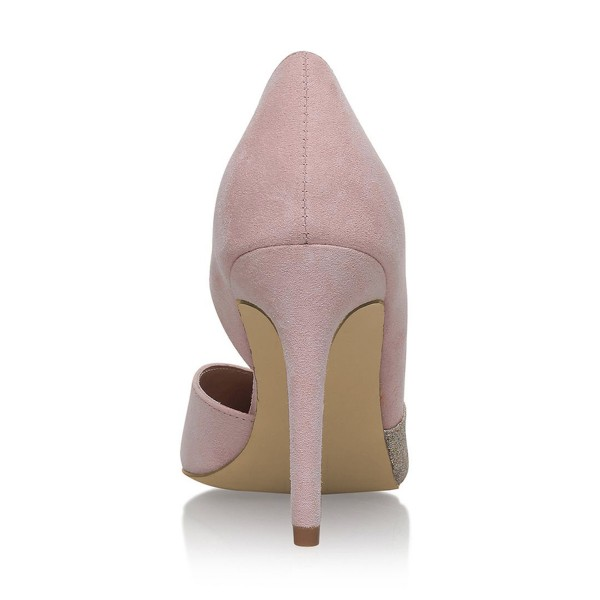4 inch Heels Pink Pointed Toe Glitter Stiletto Heels Pumps image 3