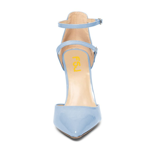 Light Blue Closed Toe Sandals Ankle Strap Stiletto Heels Shoes image 2