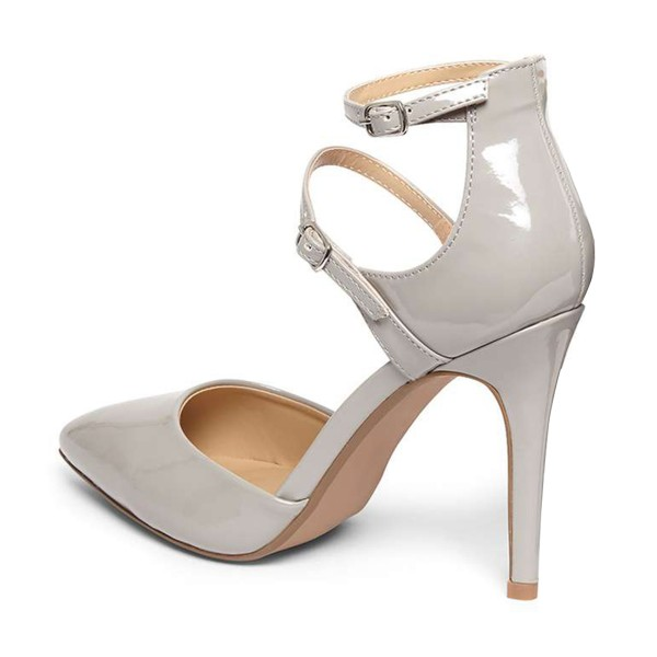 Women's Grey Pointed Toe Ankle Strap Heels Pumps image 3