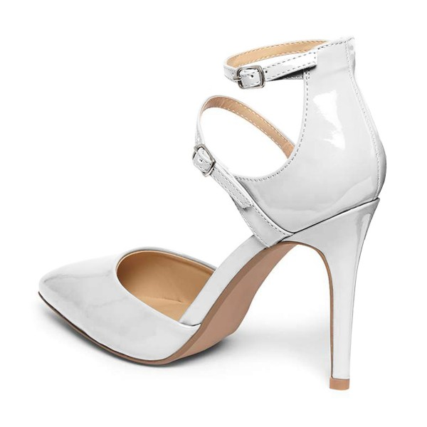Women's White Pointed Toe Ankle Strap heels  Pumps image 3