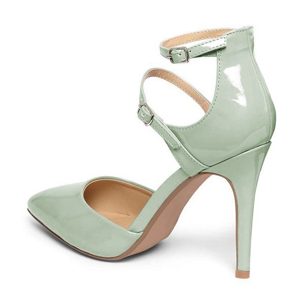 Women's Light Green Pointed Toe Ankle Trap Heels Pumps image 3