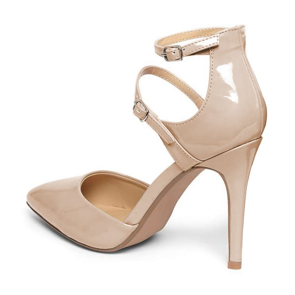 Women's Nude Office Heels Ankle Strap Heels Pointed Toe Stiletto ...