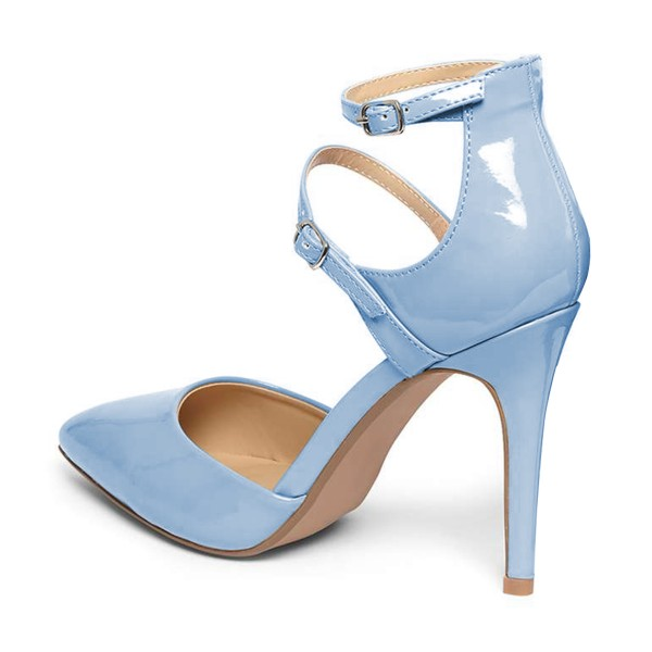 Light Blue Closed Toe Sandals Ankle Strap Stiletto Heels Shoes image 3
