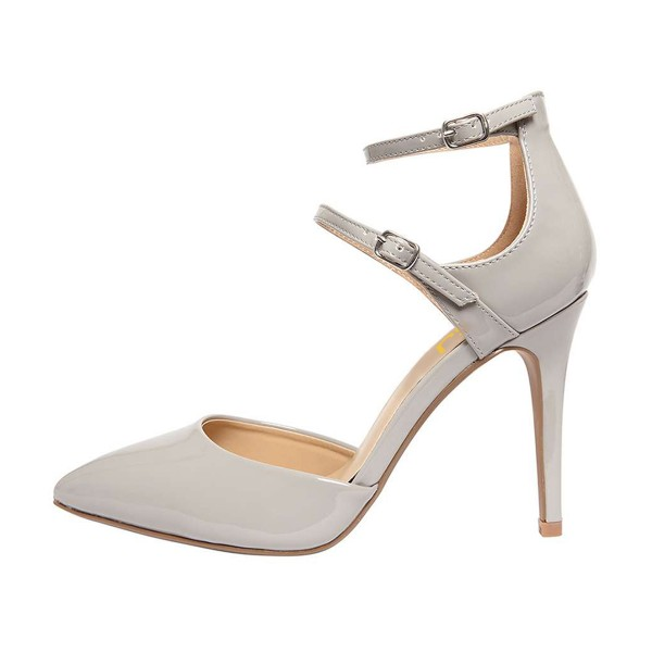 Women's Grey Pointed Toe Ankle Strap Heels Pumps image 4
