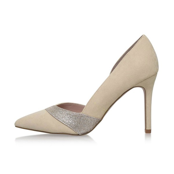 Women's Nude Pointed Toe Suede Glitter Stiletto Heel Dorsay Pumps 4 Inch Heels image 4
