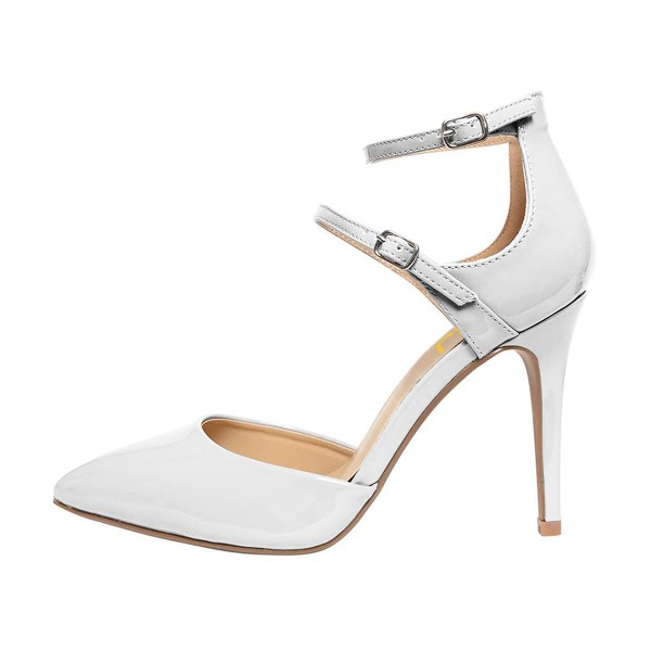 Women's White Pointed Toe Ankle Strap heels  Pumps image 4